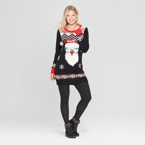 6ea2ad653c5 Women s Christmas Santa Claus Tunic Ugly Sweater - 33 Degrees (Juniors )  Black