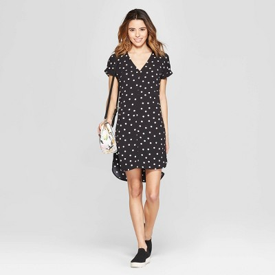 881e130d7cc Women s Polka Dot Short Sleeve V-Neck Crepe Dress - A New Day™ Black