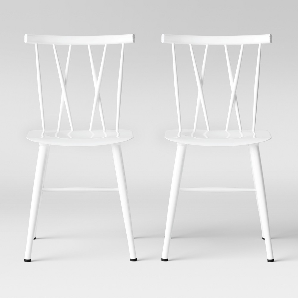 Set Of 2 Becket Metal X Back Dining Chair White Project 62 8482