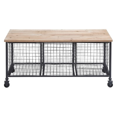 Superb Metal And Wood Rolling Storage Bench Brown Olivia May Machost Co Dining Chair Design Ideas Machostcouk