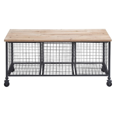 Metal and Wood Rolling Storage Bench Brown - Olivia & May - image 1 of 4