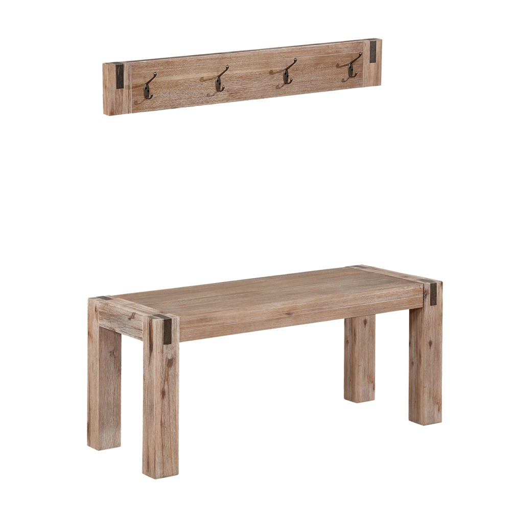 40 Woodstock Acacia Wood With Metal Coat Hook And Bench Set Brushed Driftwood - Alaterre Furniture