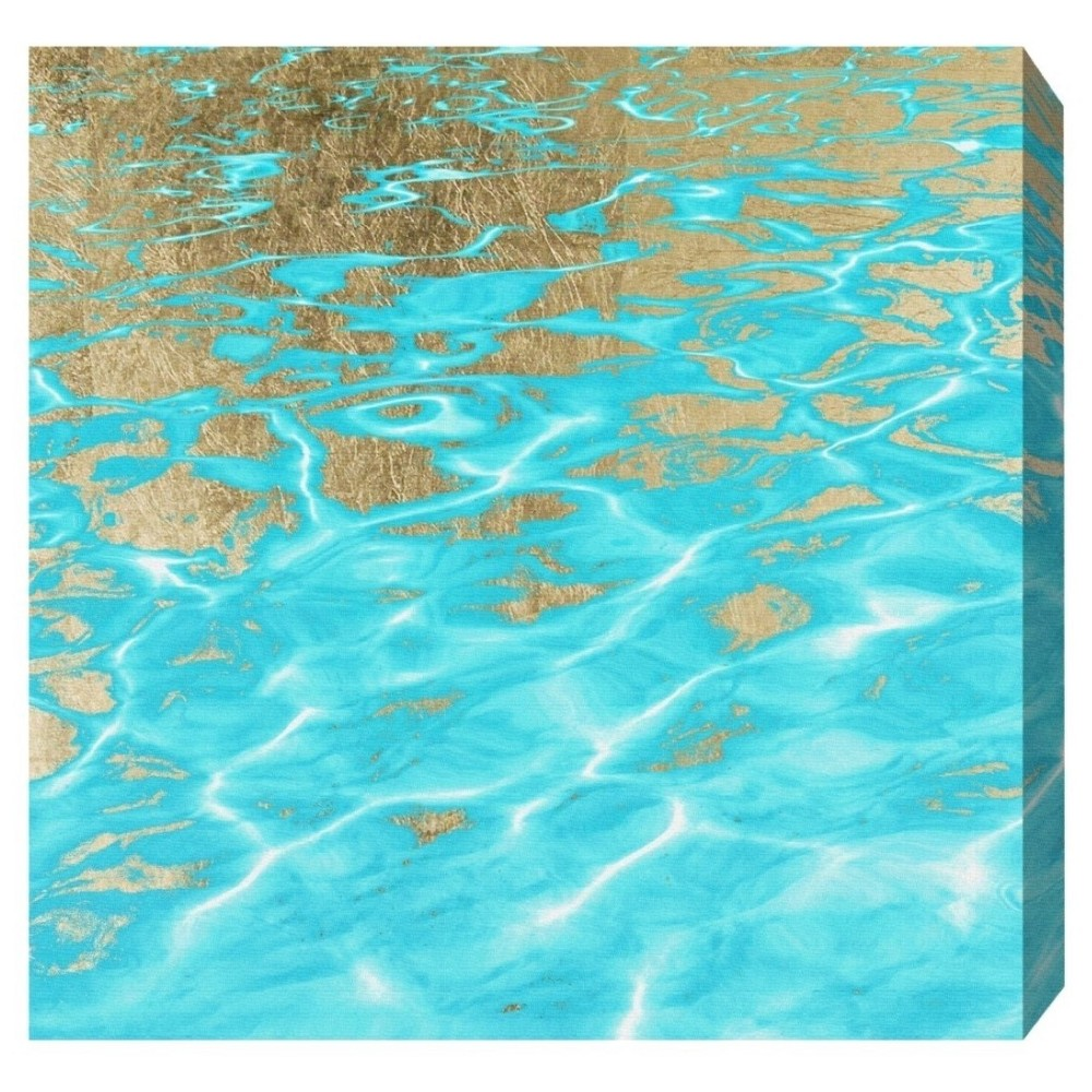 "Image of ""Oliver Gal Unframed Wall """"Pristine Waters"""" Canvas Art (20x20), Blue Gold"""
