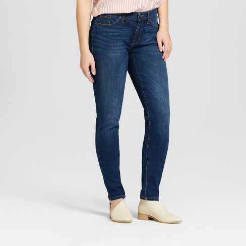 Women's Mid-Rise Curvy Skinny Jeans - Universal Thread™ Dark Wash - image 1 of 3