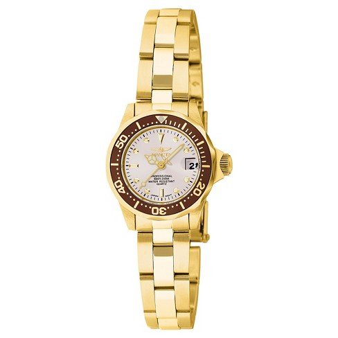 Women's Invicta 11444 Pro Diver Quartz 3 Hand White Dial Link Watch - Gold - image 1 of 1