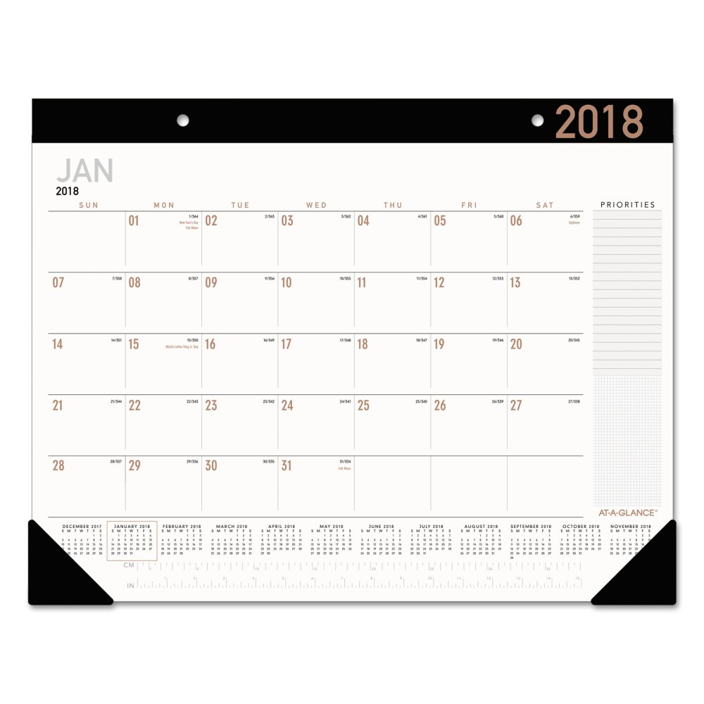 At-A-Glance Contemporary Monthly Desk Pad 21 3/4 x 17 2018, White