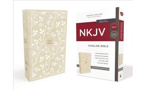 Holy Bible : New King James Version, Thinline, White/tan, Red Letter Edition (Hardcover) - image 1 of 1