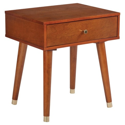 Cupertino 1 Drawer End Table Light Walnut - OSP Home Furnishings - image 1 of 4