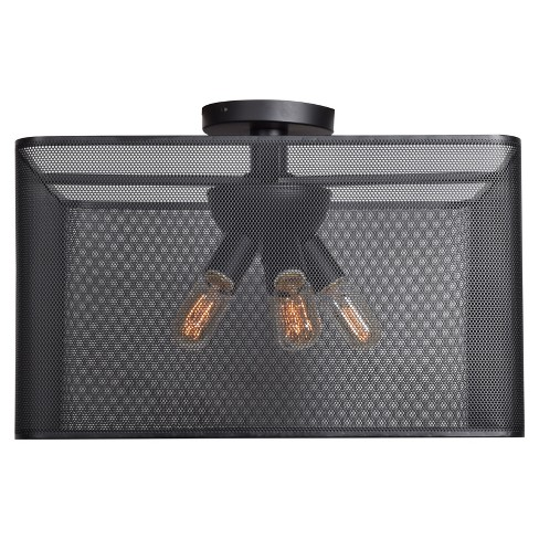 "Epic 20"" Square LED Semi-Flush Mount - Black - image 1 of 3"
