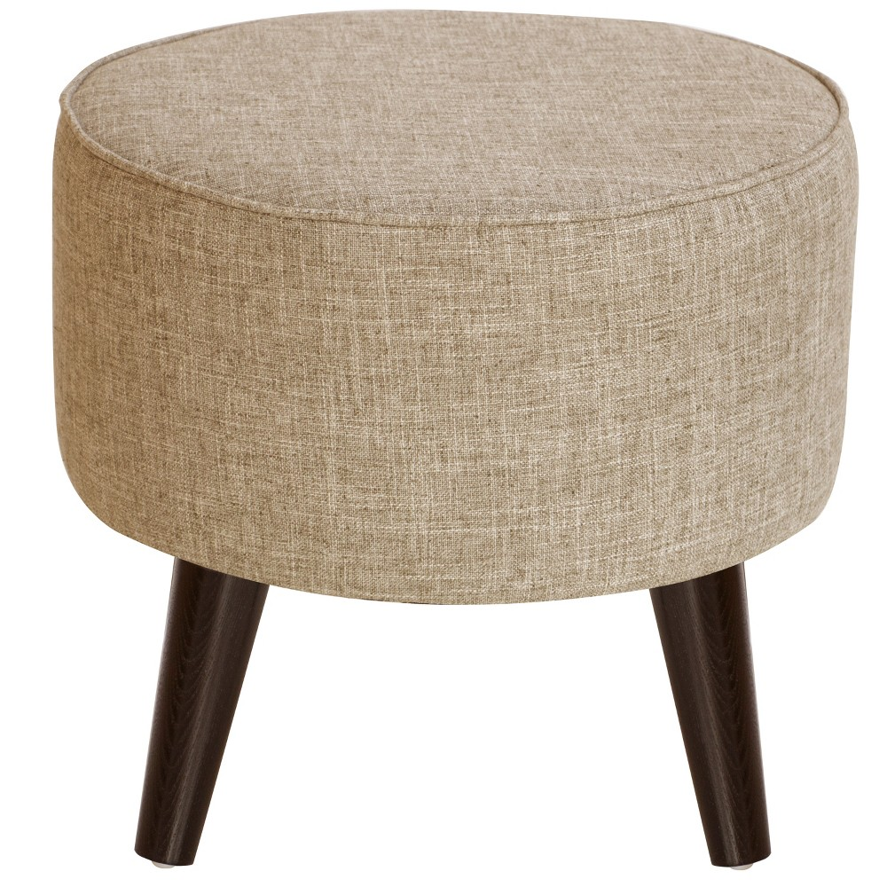 Riverplace Round Cone Leg Ottoman Natural Linen with Espresso Legs - Project 62