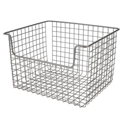 mDesign Wide Metal Storage Organizer Basket - Open Front, Closets, 4 Pack - Gray