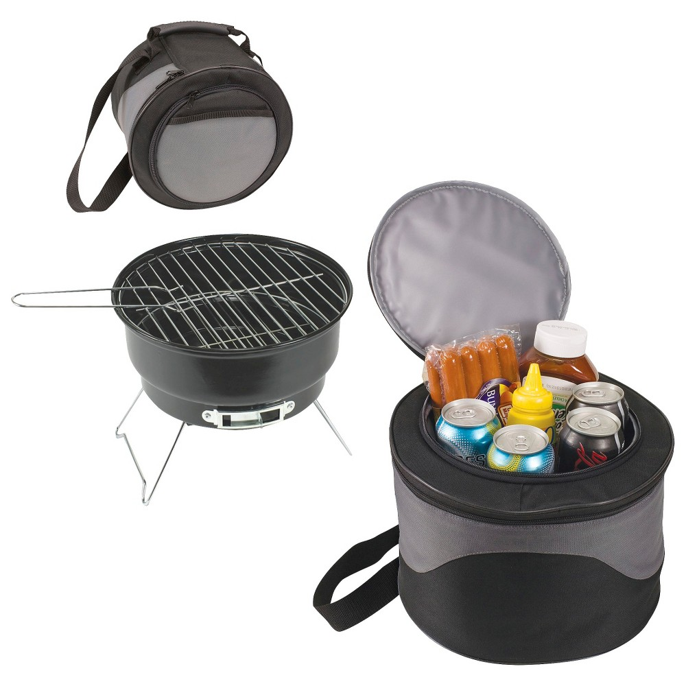 Picnic Time Caliente – Charcoal Grill with Tote/Cooler, Black 15044415