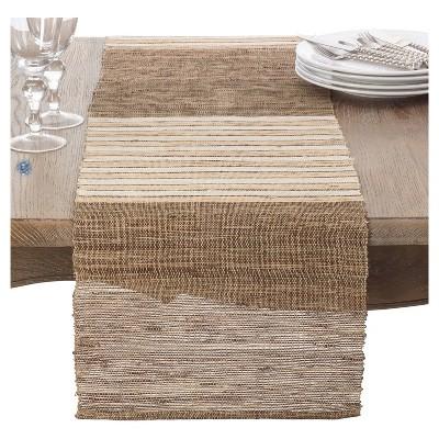 "Light Brown Textured Stripe Design Woven Table Runner (14""x72"") - Saro Lifestyle"