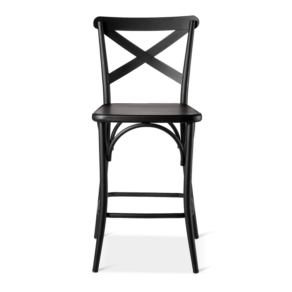 "Image of ""24"""" French Bistro High Back Counter Stool - Black"""