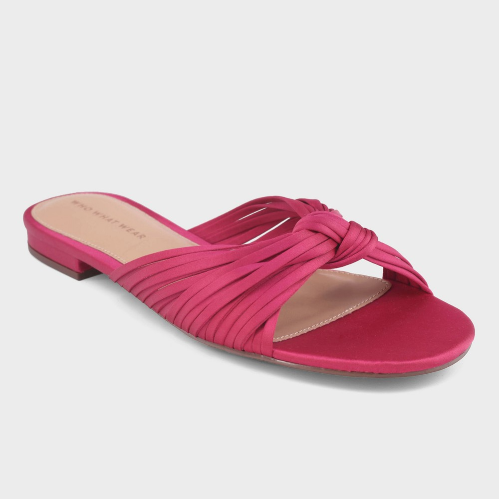 Women's Grace Satin Knotted Slide Sandals - Who What Wear Pink 11