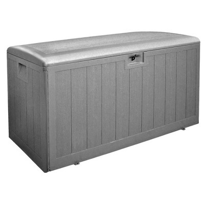 Plastic Development Group 130-Gallon Weather-Resistant Plastic Resin Outdoor Patio Storage Deck Box with Gas Shock Lid, Driftwood