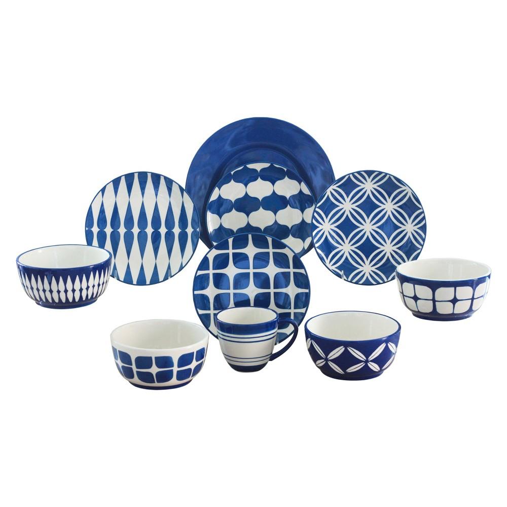 Baum Bros. Café Au Lait 16pc Dinnerware Set Blue, Medium Blue
