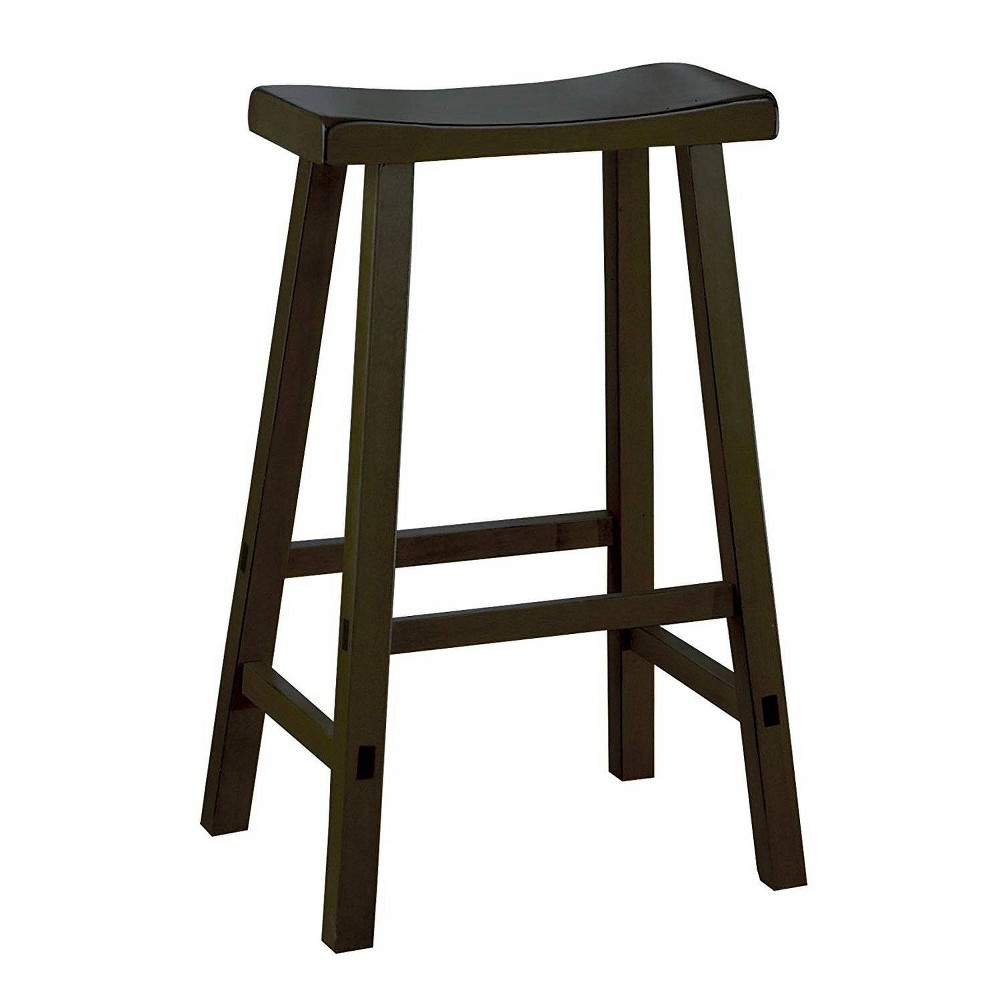 "Image of ""29"""" Set of 2 Wooden Counter Height Stool with Saddle Seat Black - Benzara"""