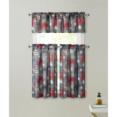 Kate Aurora Complete Plaid Christmas Reindeers Snowflakes 3 Pc Kitchen Curtain Tier And Valance Set - 56 in. W x 36 in. L - image 1 of 1
