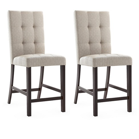 Bistro Upholstered Counter Height Dining Chair Wood/Platinum Sage (Set of 2) - CorLiving - image 1 of 3