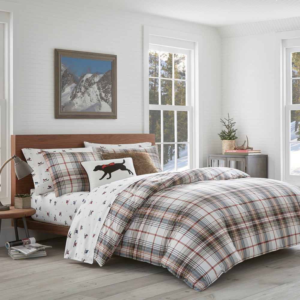 Twin Classic Plaid Duvet Cover Set Red - Eddie Bauer