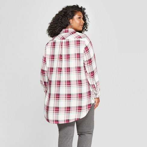 94f8e549f515f Women's Plus Size Plaid Button-Down Long Sleeve Tunic - Ava & Viv™ Berry/White  : Target