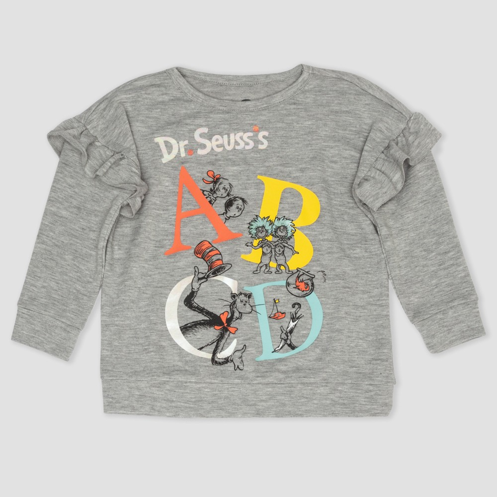 Toddler Girls' Dr. Seuss The Cat in the Hat Sweatshirt - Gray 3T