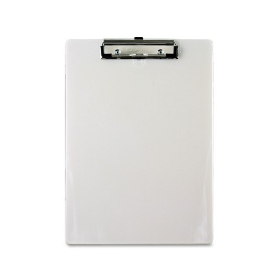 """Saunders Plastic Clipboard 1/2"""" Capacity Holds 8 1/2w x 12h Pearl 00442"""