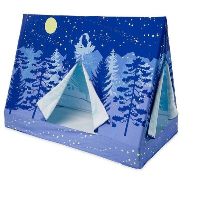 HearthSong - Kids Twin-Sized Forest A-Frame Blue Bed Tent Canopy, Approx. 74 L x 54 H x 35.5 W