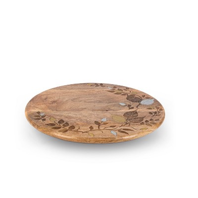 """GG Collection Mango Wood with Laser and Metal Inlay Leaf Design 16"""" Lazy Susan."""