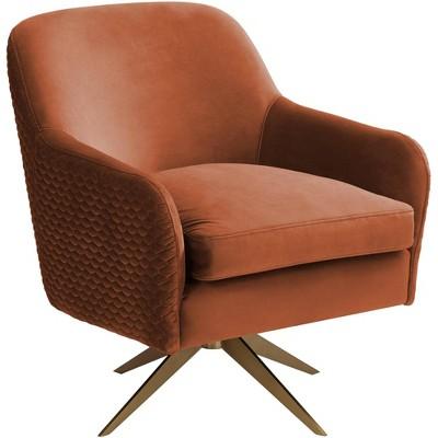 Studio 55D Ames Quilted Pumpkin Velvet Modern Swivel Club Chair