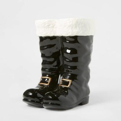 Shop Ceramic Santa Boots Decorative Figurine Black - Wondershop from Target on Openhaus