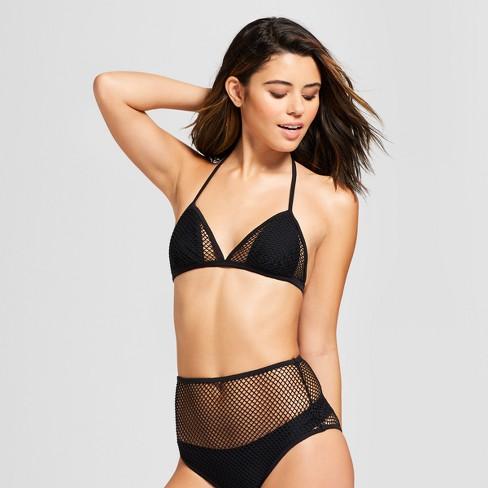 17c01db0b6f604 Women's Mesh Triangle Bikini Top - Xhilaration™ Black : Target