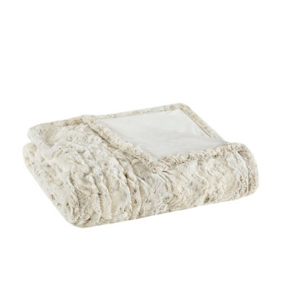 50 x70  Marselle Oversized Faux Fur Electric Throw White - Beautyrest