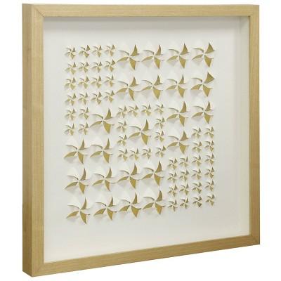 Wooden Shadow Stars Shadowbox Inner Paper Wall Art White - StyleCraft