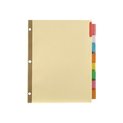 Staples Big Tab Insertable Paper Dividers 8-Tab Buff with Assorted-Color Tabs 153866