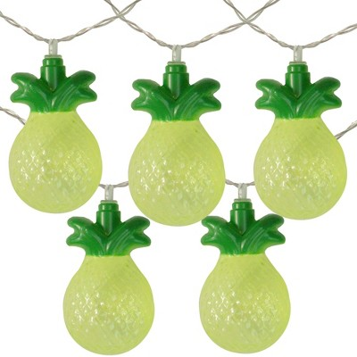Northlight 10ct Battery Operated Tropical Pineapple Summer LED String Lights Warm White - 4.5' Clear Wire