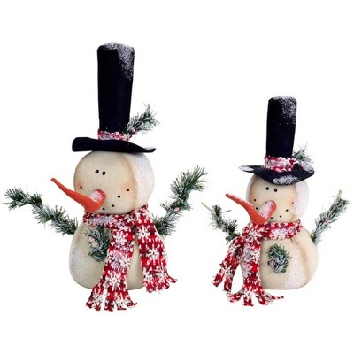 """Melrose Set of 2 White and Red Jolly Snowmen Christmas Tabletop Figurines 15"""""""