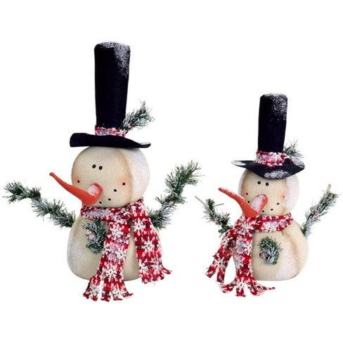 Diva At Home Set of 2 Vibrantly Colored Frosted Jolly Snowmen Christmas Table Top Figurine - image 1 of 1