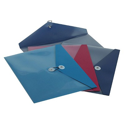 Pendaflex ViewFront Poly File Folders Booklet Envelope, Side Opening, 11 x 9 1/2, 3 Colors, 4/Pack