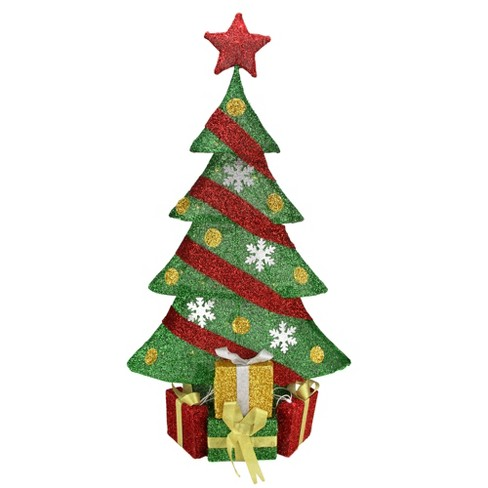 Northlight 39 Lighted Green And Red Tinsel Christmas Tree With