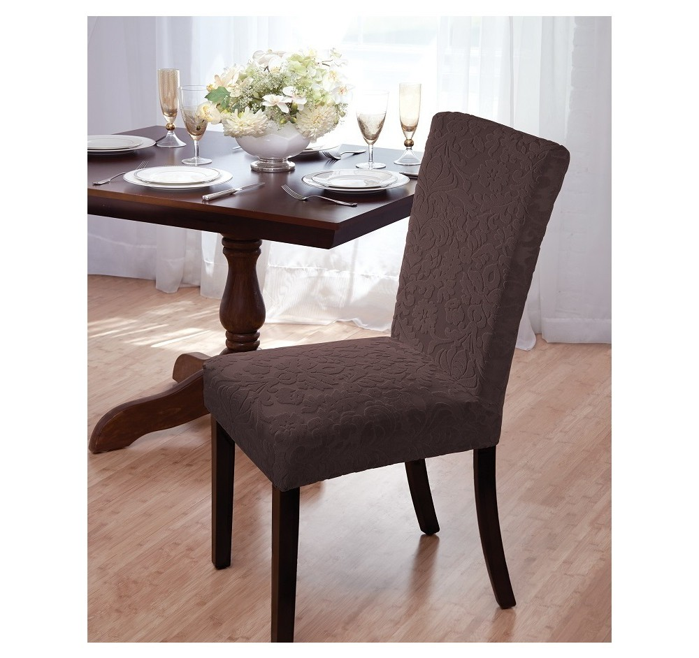 Madsion Brown Velvet Damask Dining Room Chair Cover - Mad...