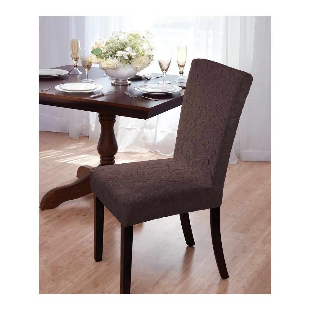 Image of Brown Velvet Damask Dining Room Chair Cover - Madison