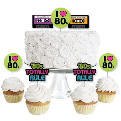 Big Dot of Happiness 80's Retro - Dessert Cupcake Toppers - Totally 1980s Party Clear Treat Picks - Set of 24
