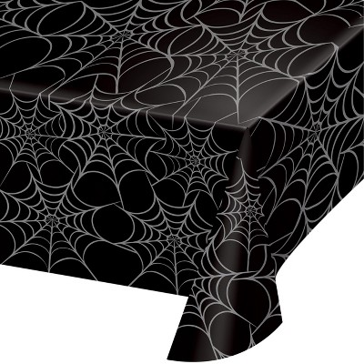 Silver Web Plastic Tablecloth Black