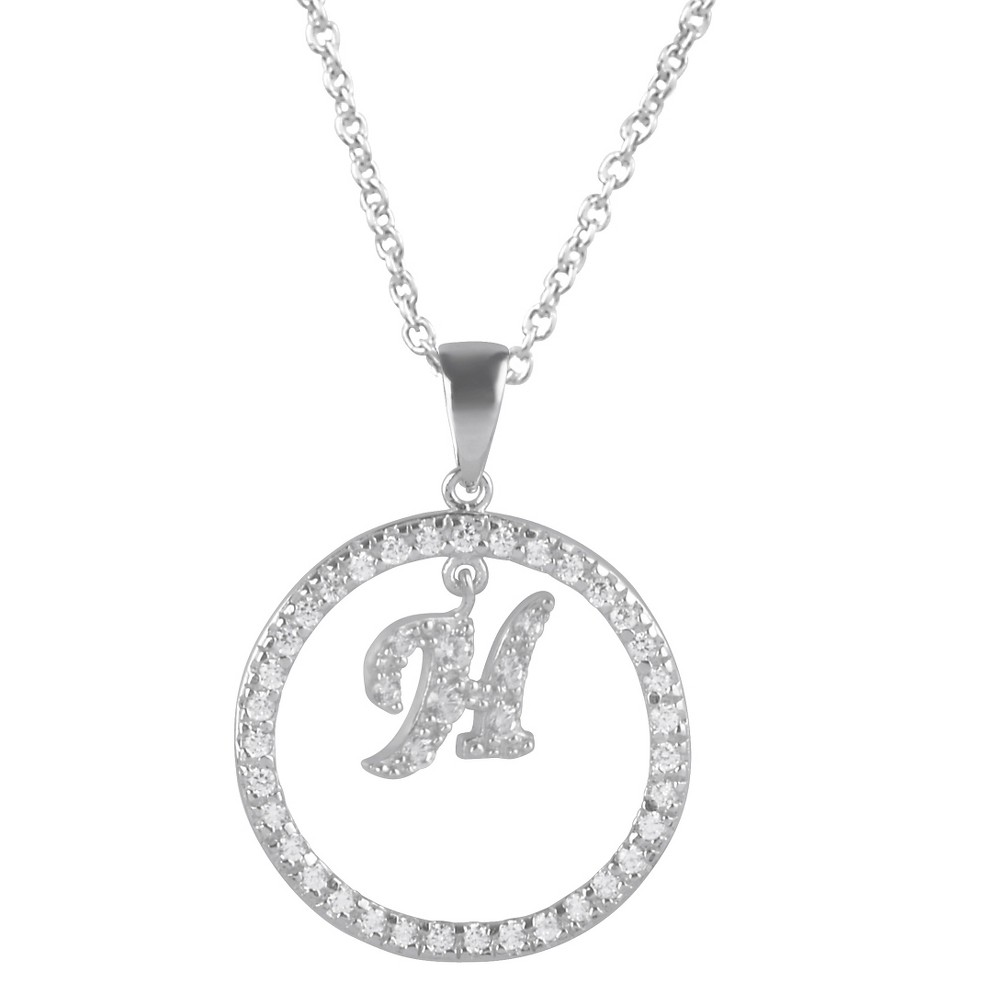 2 2/5 CT. T.W. Round-cut CZ Pave Set Initial H Pendant Necklace in Sterling Silver - Silver (18), Girl's, Silver H