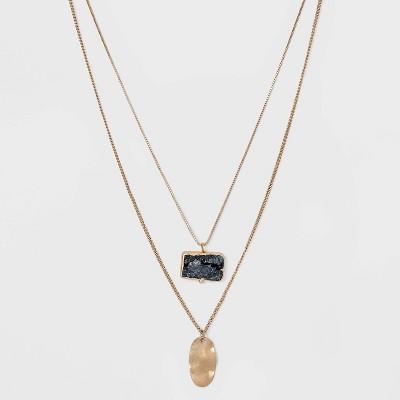 Semi-Precious with Wavy Metal Tab Layered Charm Necklace - Universal Thread™