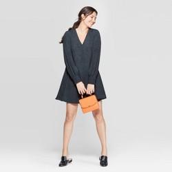 Women's Snake Print Long Sleeve V-Neck Woven Mini Dress - A New Day™ Green