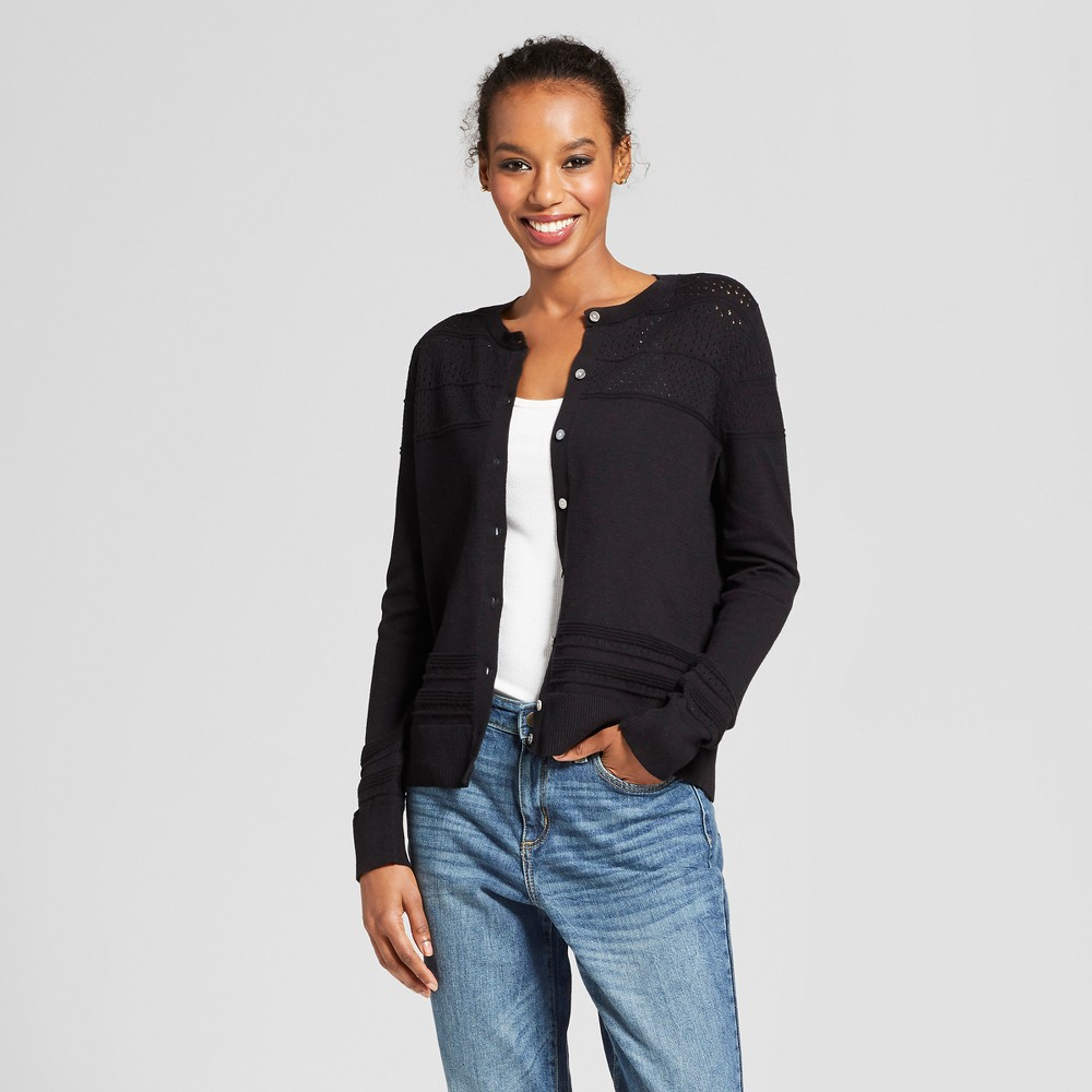 Women's Long Sleeve Any Day Cardigan - A New Day Black L