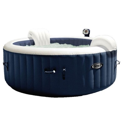 """Intex 28405E PureSpa 58"""" x 28"""" 4 Person Home Outdoor Inflatable Portable Heated Round Hot Tub Spa with 120 Bubble Jets, and Built in Heat Pump, Blue"""